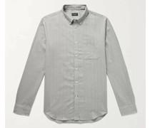 Slim-Fit Button-Down Collar Herringbone Cotton-Flannel Shirt