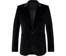 Black Soho Stretch-cotton Velvet Tuxedo Jacket