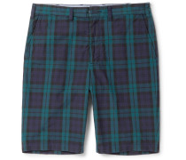 Slim-fit Checked Cotton Shorts