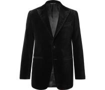 Black Slim-Fit Cotton-Velvet Tuxedo Jacket