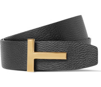 4cm Black And Brown Reversible Full-grain Leather Belt