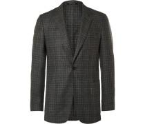 Grey Slim-fit Fitzrovia Checked Wool Blazer