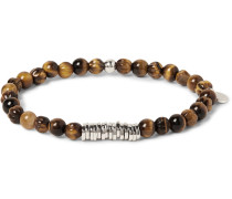 Sterling Silver And Tiger's Eye Bead Bracelet