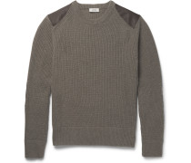 Buckley Textured Leather-panelled Ribbed Merino Wool Sweater