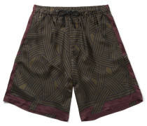 Printed Satin Drawstring Shorts