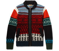 Patterned Wool, Cashmere And Cotton-blend Zip-up Cardigan