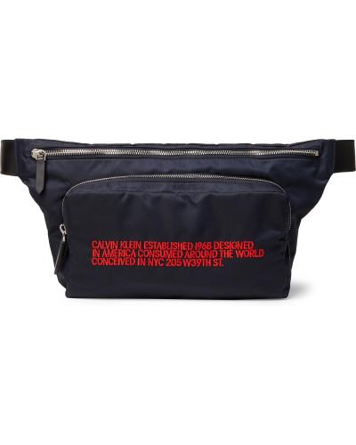 Leather-Trimmed Embroidered Shell Belt Bag