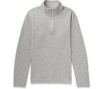 Perforated Cotton-blend Half-zip Sweatshirt