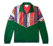 Oversized Printed Silk-Twill and Tech-Jersey Bomber Jacket