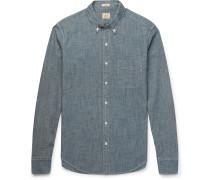 Slim-fit Button-down Collar Cotton-chambray Shirt