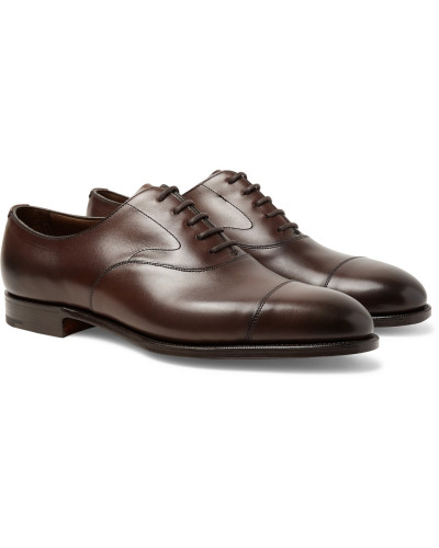 Chelsea Cap-toe Burnished-leather Oxford Shoes - Dark brown