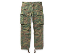 Camouflage-Print Cotton-Ripstop Cargo Trousers