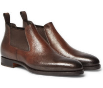 Burnished Grained-leather Chelsea Boots