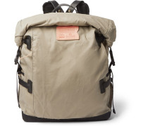Basile Leather-Trimmed Waxed Cotton-Ripstop Backpack