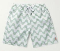 + Garrett Leight Long-Length Printed Swim Shorts
