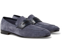 Asola Leather-trimmed Suede Penny Loafers