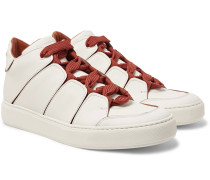 Tiziano Panelled Leather High-top Sneakers