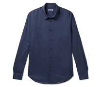 Logo-Embroidered Cotton-Voile Shirt