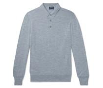 Slim-Fit Mélange Merino Wool Polo Shirt