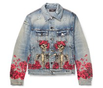 + Grateful Dead Slim-Fit Distressed Printed Denim Trucker Jacket