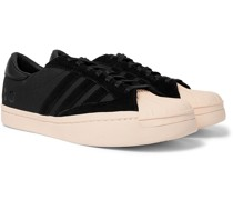 Yohji Star Leather and Suede-Trimmed Canvas Sneakers