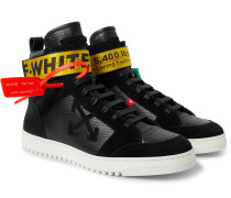 Grosgrain And Suede-trimmed Leather High-top Sneakers