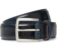 3.5cm Dark-blue Horween Shell Cordovan Leather Belt