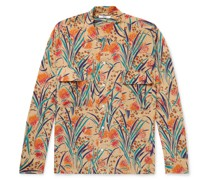 Housatonic Havana Camp-Collar Printed Silk-Crepe Shirt