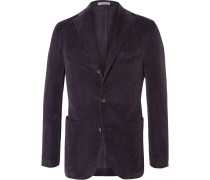 Purple Slim-fit Stretch-cotton Corduroy Blazer
