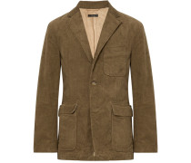Light-brown Slim-fit Cotton-corduroy Blazer