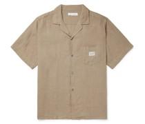 Camp-Collar Linen Pyjama Shirt