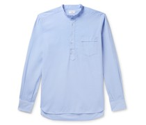 Grandad-Collar Washed Cotton Oxford Half-Placket Shirt
