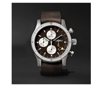 Boeing 100 Automatic GMT Chronograph 43mm Titanium and Leather Watch, Ref. No. BB100/R