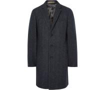 Slim-fit Herringbone Slub Wool-blend Overcoat