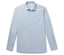 Slim-Fit Puppytooth Checked Cotton and Cashmere-Blend Shirt