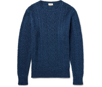Cable-knit Indigo-dyed Cotton Sweater