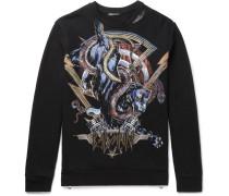 Printed Embroidered Fleece-back Cotton-jersey Sweatshirt