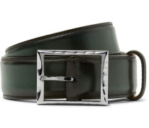 3.5cm Green Classic Polished-leather Belt
