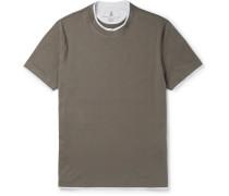Slim-fit Layered Cotton-jersey T-shirt