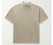 Logo-Appliquéd Cotton-Terry Mock-Neck T-shirt
