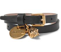 Leather And Burnished Gold-tone Skull Wrap Bracelet
