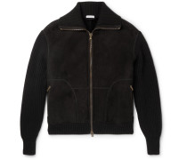 Nordic Wool-panelled Shearling Bomber Jacket