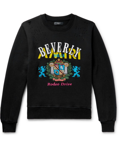 Embroidered Distressed Loopback Cotton-jersey Sweatshirt - Black