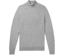 Mélange Merino Wool Mock-Neck Sweater