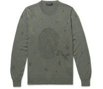Slim-fit Distressed Wool And Cotton-blend Sweater