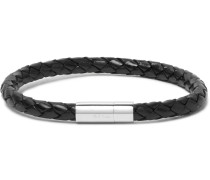 Braided Leather And Stainless Steel Bracelet