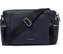 London Leather-trimmed Canvas Messenger Bag