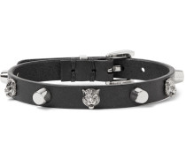 Studded Leather And Silver-tone Bracelet