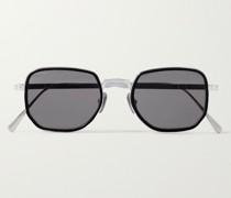 Round-Frame Titanium and Acetate Sunglasses