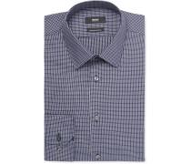 Navy Enzo Grid-checked Cotton Shirt
